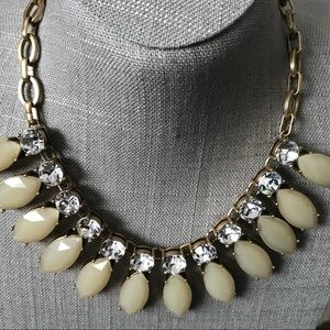Pale yellow j crew rhinestone statement necklace